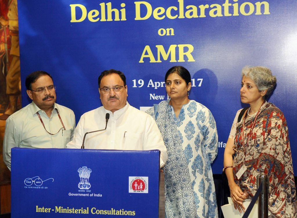 The Union Minister for Health & Family Welfare, Mr Nadda addressing at the Inter-Ministerial Consultation on Anti-Microbial Resistance Containment, in New Delhi on April 19, 2017. The Minister of State for Health, Mrs Anupriya Patel, the Secretary (Health and Family Welfare), Mr C K Mishra and the Secretary, Directorate of Health Research & Director General, Indian Council of Medical Research, Dr Soumya Swaminathan are also seen.