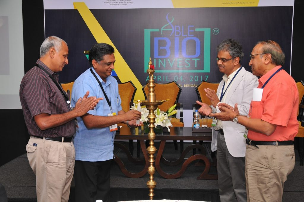 Inaugural of BioInvest: (L-R) Dr K K Narayanan, Metahelix; Dr PM Murali, CEO, Evolva Biotech & President, ABLE; Dr Jagdish Mittur, Head - Biotechnology Facilitation Cell at KBITS and Dr D A Prassana, Chairman & MD, Ecron Acunova.