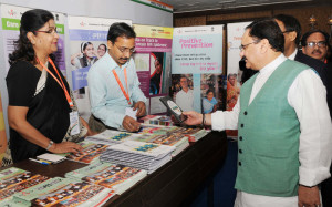 The Union Minister for Health & Family Welfare, Shri J.P. Nadda visiting an exhibition at the inaugural session of the 'International Meeting for Ending TB', in New Delhi on March 21, 2016.