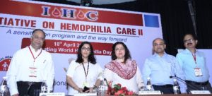 (L-R) Mrs Meenakshi Lekhi , Member of Parliament, Dr Kanjaksha Ghosh, President, Hemophilia Federation India, Dr. Alok Srivastava, Professor, Department of Haematology, CMC Vellore at the Hemophilia Care-II, a sensitization program and the way forward at New Delhi on 18th April 2016.