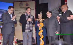 The Union Minister for Health & Family Welfare, Shri J.P. Nadda and the Union Minister for Urban Development, Housing & Urban Poverty Alleviation and Information & Broadcasting, Shri M. Venkaiah Naidu lightening the lamp at an MOU signing ceremony between AIIMS and NBCC, HSCC and HITES HLL Life Care Ltd., in New Delhi on January 17, 2017.