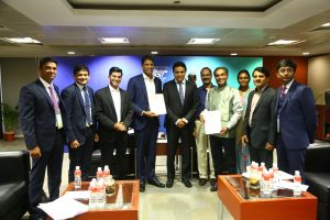 Dr Vasanth Narasimhan, Global Head of Drug Development & CMO, Novartis, Switzerland signing an MoU with NIPER Hyderabad in the presence of Mr K T Rama Rao, Minister for Industries & Commerce, IT E&S, MAUD, Government of Telangana on the sidelines of BioAsia 2017.