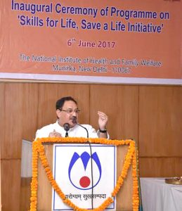The Union Minister for Health & Family Welfare, Shri J.P. Nadda addressing the participants, at the launch of the 'Skill for Life, Save a Life Initiative', in New Delhi on June 06, 2017.