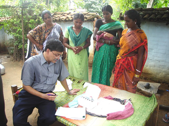 Dr Panigrahi in Odisha during the clinical trial.