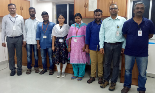 Dr. Mutheneni (second from right) with his team at IICT, Hyderabad