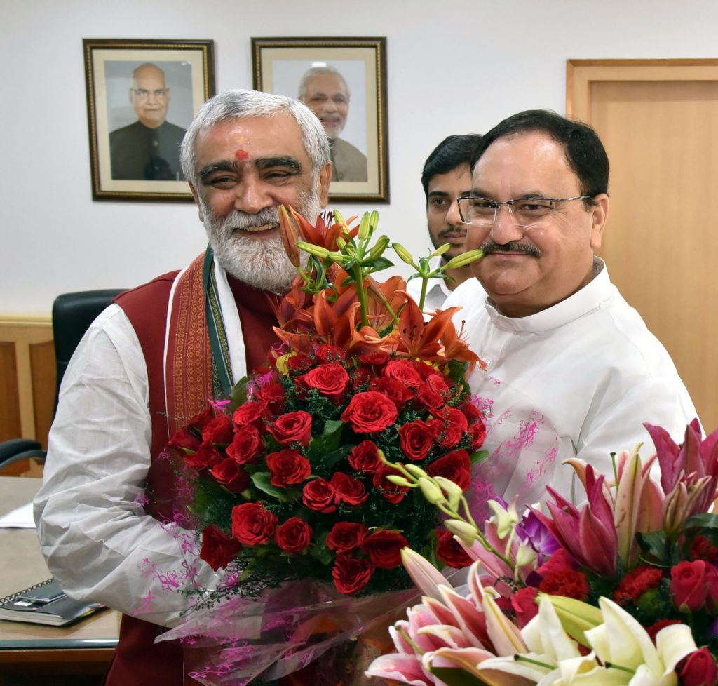 The Union Minister for Health & Family Welfare, Mr J P Nadda greeting the new Minister of State for Health and Family Welfare, Ashwini Kumar Choubey, in New Delhi September 04, 2017.